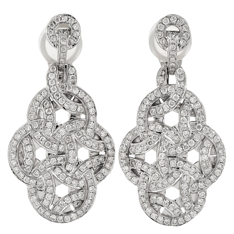 2.32cts Diamond 18K Gold Elegant Dangle Drop Earrings