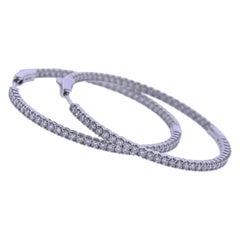 2.32ctw Diamond White Gold Hoop Earrings