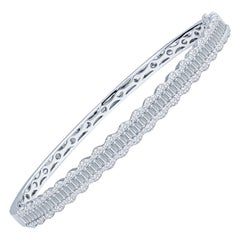 2.33 Carat Baguette and Round Diamond and 18 Karat White Gold Bangle Bracelet