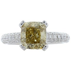 2.33 Carat Cushion Yellowish Brown Natural Diamond White Gold Cocktail Ring