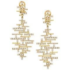 2.33 Carat Diamond French Clip Dangle Earrings in 18k Yellow Gold
