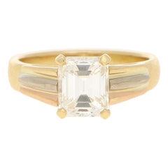 2.33 Carat Emerald Cut Diamond Solitaire Ring in 18 Carat Tri-Color Gold