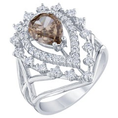 2.33 Carat Fancy Diamond Cocktail 18 Karat White Gold Ring