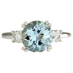 2.33 Carat Natural Aquamarine 18 Karat White Gold Diamond Ring