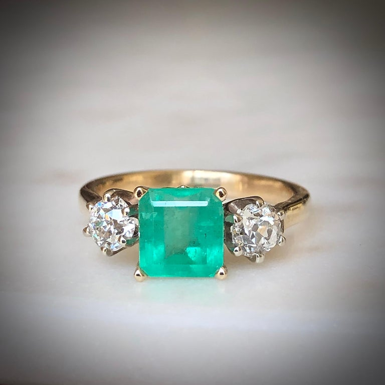 2.33 Carat Natural Colombian Emerald Old European Diamond Engagement Ring Gold In New Condition For Sale In Brunswick, ME