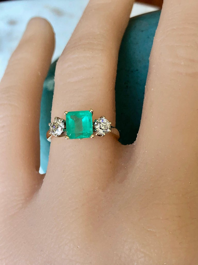 2.33 Carat Natural Colombian Emerald Old European Diamond Engagement Ring Gold For Sale 3