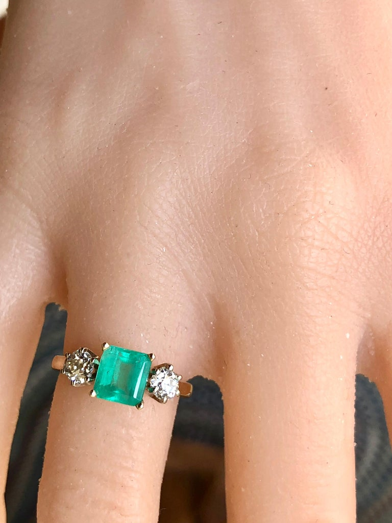 2.33 Carat Natural Colombian Emerald Old European Diamond Engagement Ring Gold For Sale 7