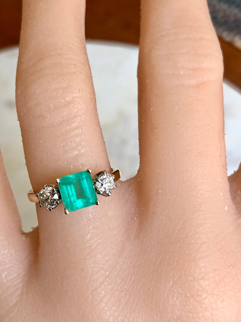 Victorian 2.33 Carat Natural Colombian Emerald Old European Diamond Engagement Ring Gold For Sale
