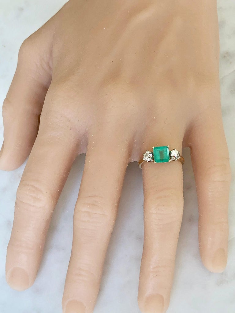 Women's 2.33 Carat Natural Colombian Emerald Old European Diamond Engagement Ring Gold For Sale