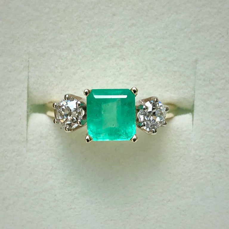 Old European Cut 2.33 Carat Natural Colombian Emerald Old European Diamond Engagement Ring Gold For Sale