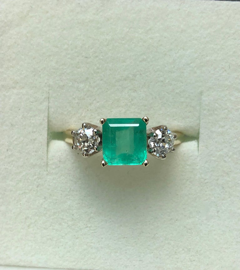 2.33 Carat Natural Colombian Emerald Old European Diamond Engagement Ring Gold For Sale 5