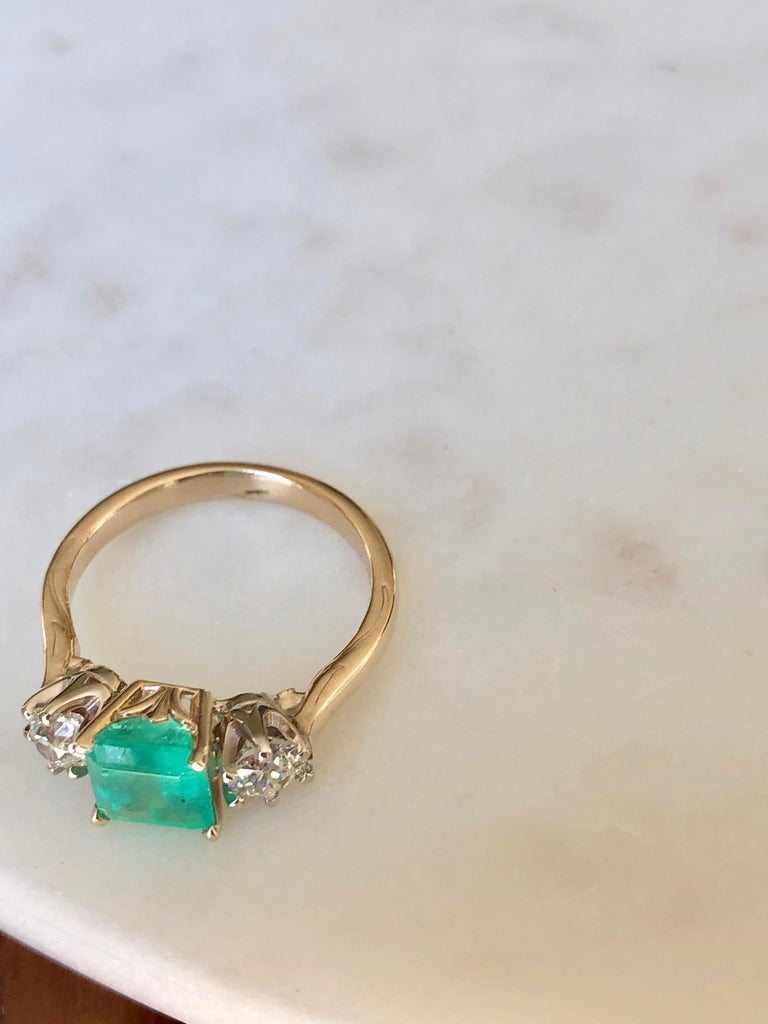 2.33 Carat Natural Colombian Emerald Old European Diamond Engagement Ring Gold For Sale 6