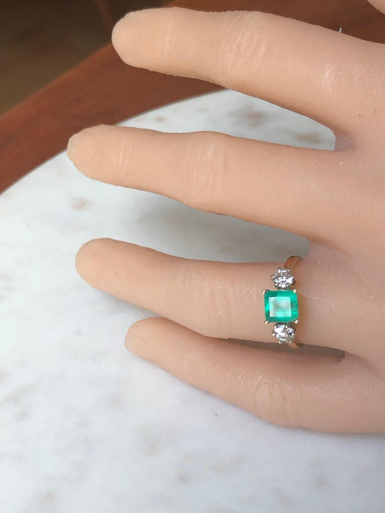 2.33 Carat Natural Colombian Emerald Old European Diamond Engagement Ring Gold For Sale 8