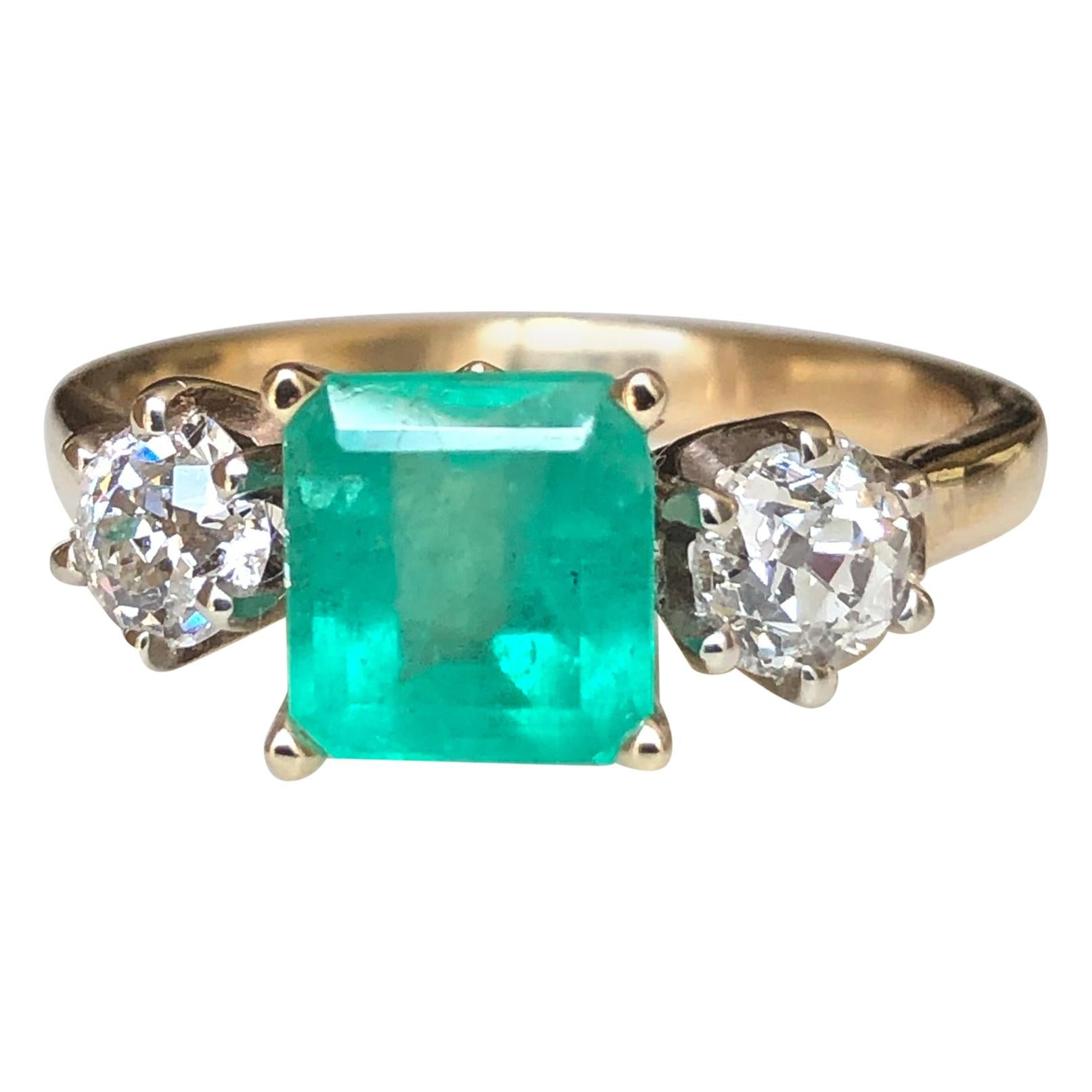 2.33 Carat Natural Colombian Emerald Old European Diamond Engagement Ring Gold