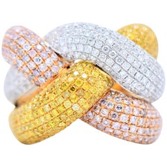 2.33 Carat Natural Fancy Pink and Yellow Diamond Pave Ring