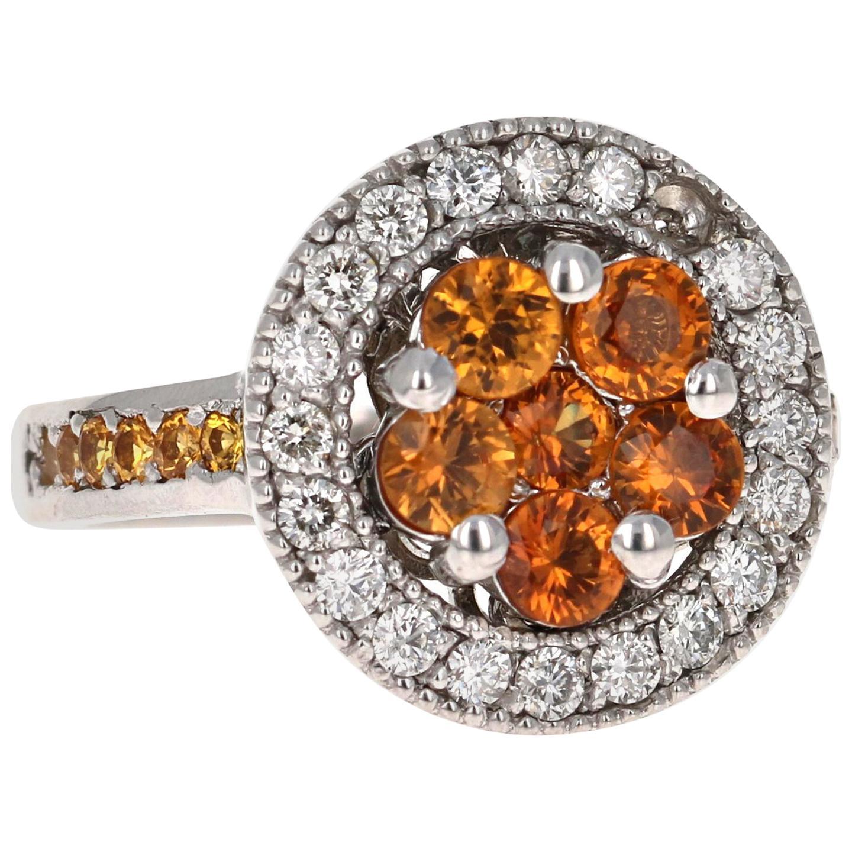 2.33 Carat Orange Sapphire Diamond 14 Karat White Gold Cocktail Ring