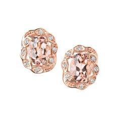 2.33 Carat Oval Pink Morganite and 0.2 Carat White Diamond Earrings