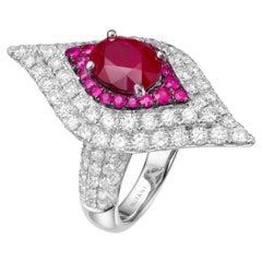 2.33 Carat Oval Ruby 18 Karat White Gold Diamond Cocktail Ring