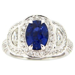 2.33 Carat Oval Sapphire and Diamond Cocktail Ring