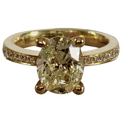 2.33 Carat Oval Yellow Diamond Solitaire Ring