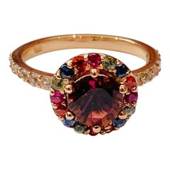 2.33 Carat Tourmaline Sapphire 14 Karat Rose Gold Cocktail Ring