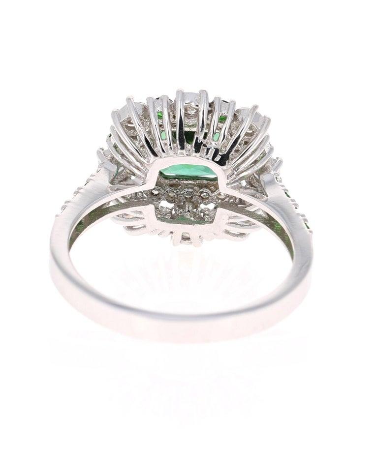 Cushion Cut 2.33 Carat Tsavorite and Diamond 18 Karat White Gold Engagement Ring For Sale
