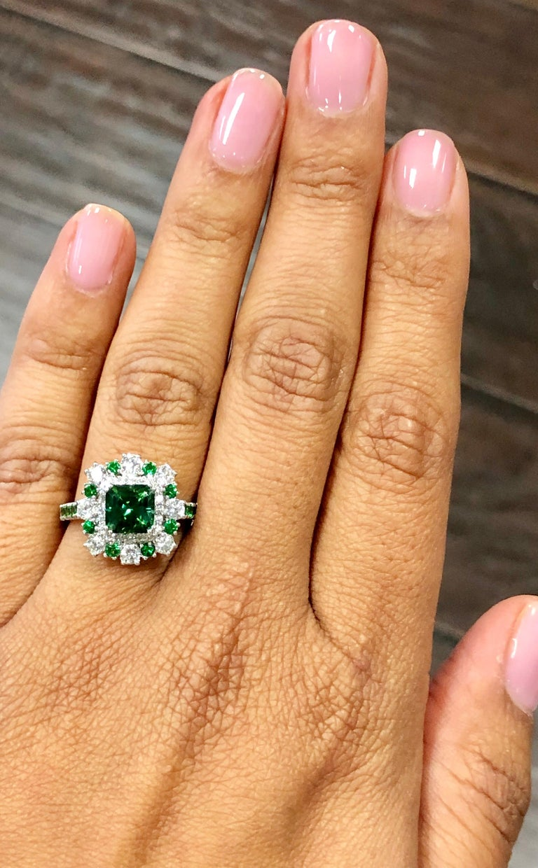 2.33 Carat Tsavorite and Diamond 18 Karat White Gold Engagement Ring In New Condition For Sale In San Dimas, CA