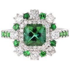 2.33 Carat Tsavorite and Diamond 18 Karat White Gold Engagement Ring