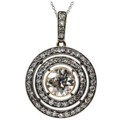2.33 Carat Vintage Victorian Diamond Pendant Necklace Drop Silver and Gold