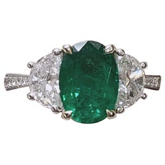 Engagement emerald ring- 2.33 Carat Zambia Emerald 3-Stone Ring