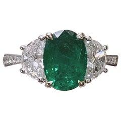 Engagement emerald ring- 2.33 Carat Zambia Emerald 3-Stone Ring