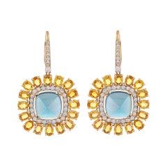 23.31 Carat Blue Topaz Yellow Sapphire Diamond 18 Karat Yellow Gold Earrings