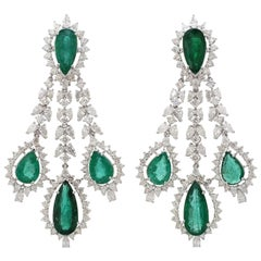 23.32 Carat Emerald Diamond 18 Karat Gold Chandelier Earrings