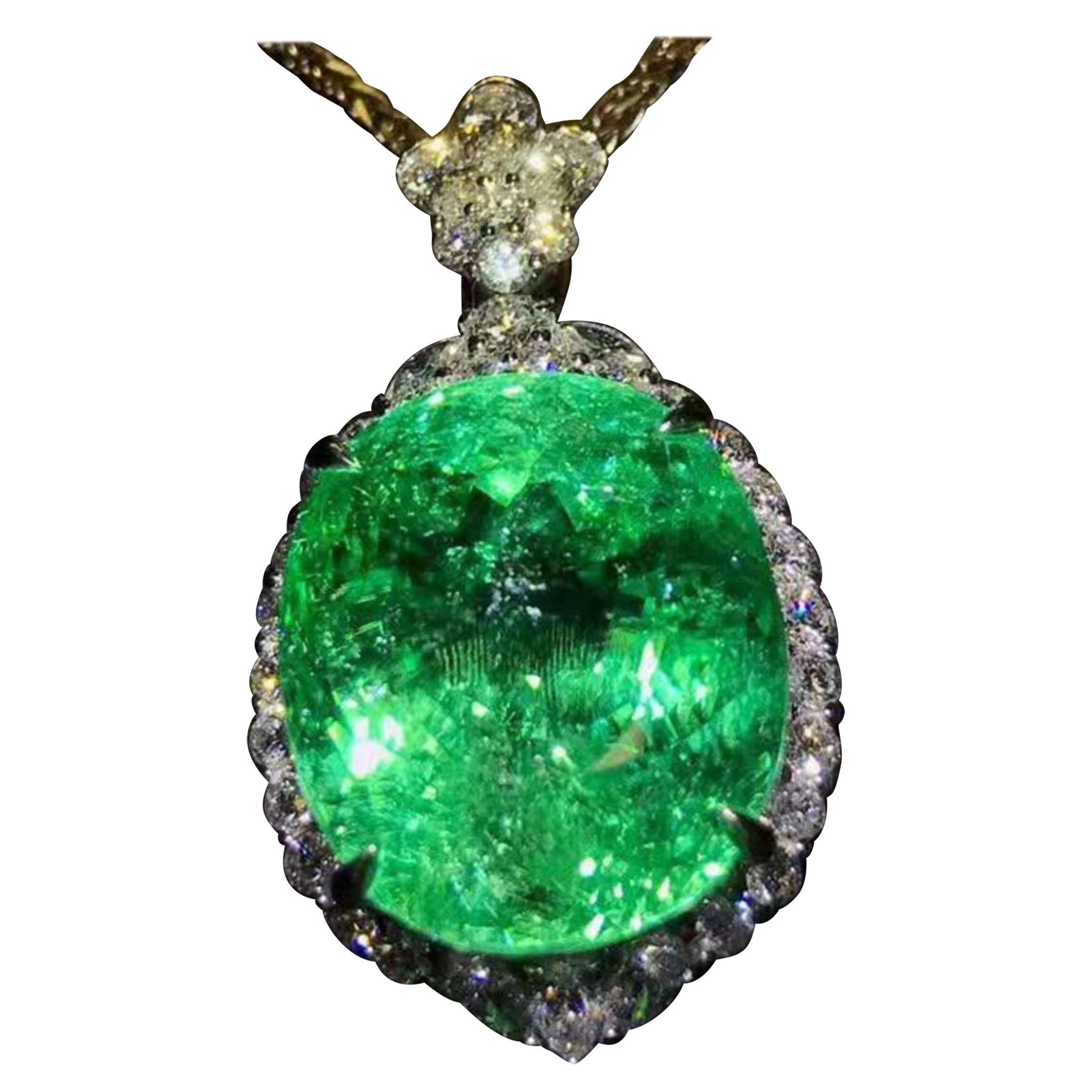 23.35 Carat Paraiba Tourmaline Diamond Necklace 18 Karat White Gold