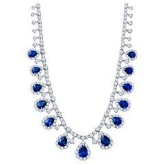 23.38ct Pear Shape Sapphire and 28.34 Carat Diamond Platinum Teardrop Necklace