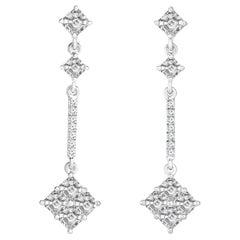 2.34 Carat Asscher Cut Diamond Drop Cluster Earrings in 18 Karat White Gold