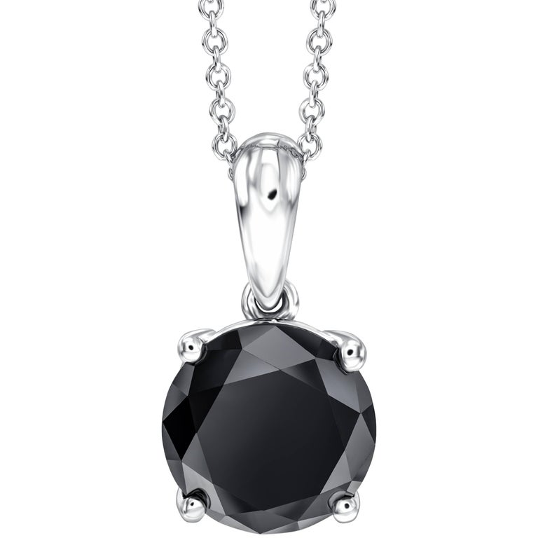 2.34 Carat Black Diamond in 18 Karat White Gold Pendant Solitaire with Chain