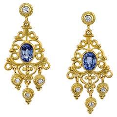 2.34 ct. t.w. Blue Sapphire, Diamond Yellow Gold Chandelier Dangle Earrings