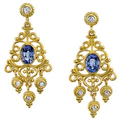 2.34 Carat Blue Sapphire and Diamond Chandelier Earrings 18 Karat Yellow Gold