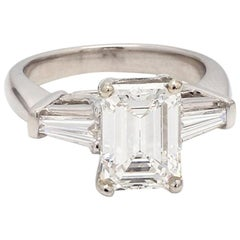 2.34 Carat E VS2 Emerald Cut Diamond Ring, GIA Certified