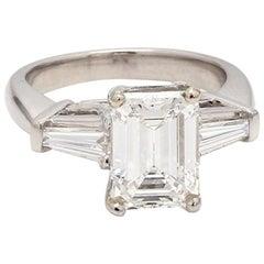 2.34 Carat E VS2 Emerald Cut Diamond Ring, GIA Certified