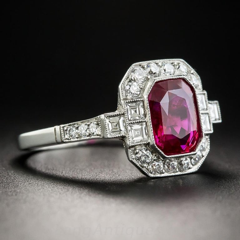 A majestic and wonderful find - a gemmy (as good as it gets) red emerald-cut ruby, weighing 2.34 carats, accompanied by gemological report from the American Gemological Laboratory (AGL) stating: Heat Enhancement: None; Burma (Myanmar) origin,