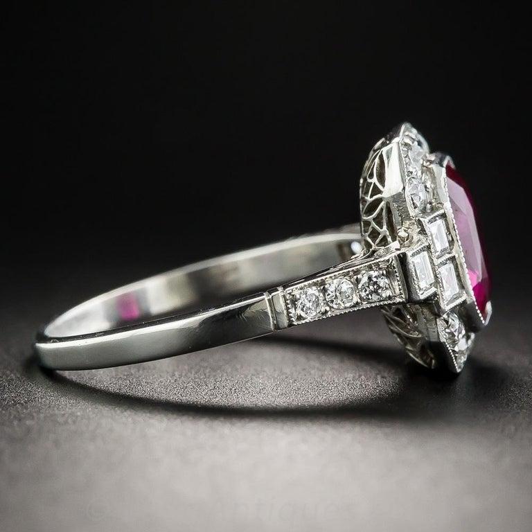 Art Deco 2.34 Carat No-Heat Burma Emerald-Cut Ruby and Diamond Ring For Sale