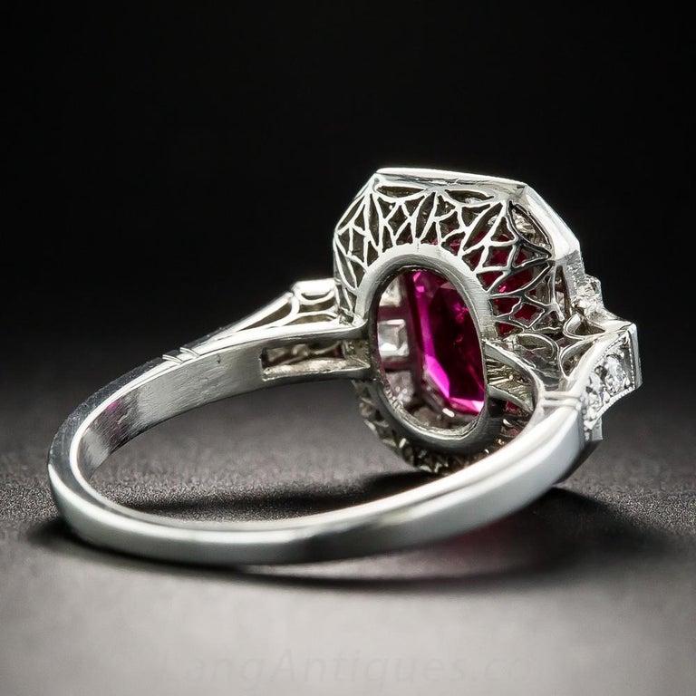 Octagon Cut 2.34 Carat No-Heat Burma Emerald-Cut Ruby and Diamond Ring For Sale