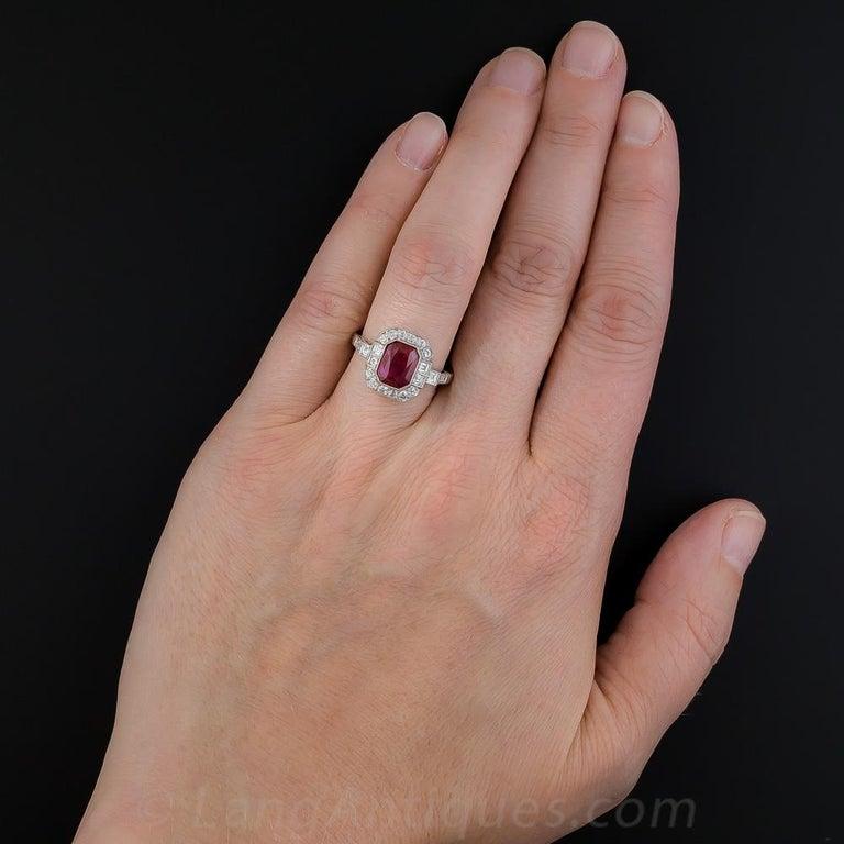 Women's or Men's 2.34 Carat No-Heat Burma Emerald-Cut Ruby and Diamond Ring For Sale