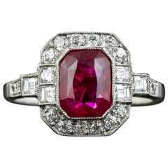 2.34 Carat No-Heat Burma Emerald-Cut Ruby and Diamond Ring