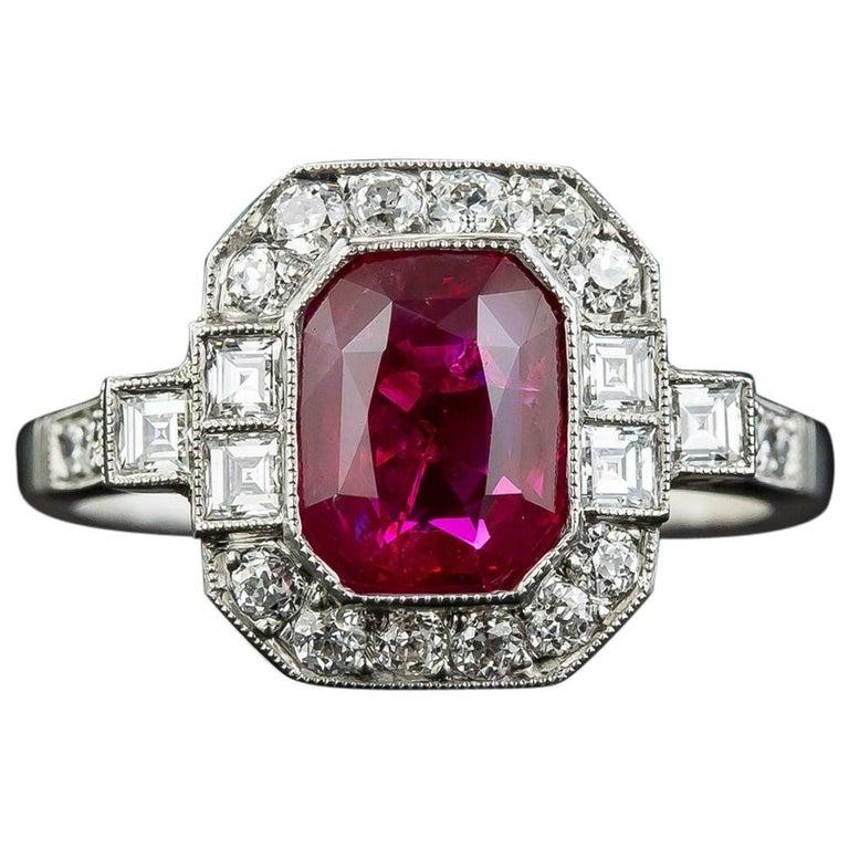 2.34 Carat No-Heat Burma Emerald-Cut Ruby and Diamond Ring For Sale