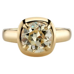 2.34 Carat Old European Cut Diamond in a Handcrafted Yellow Gold Engagement Ring