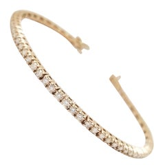 2.34 Carat Round Brilliant Cut Diamond Tennis Bracelet 14 Karat Rose Gold