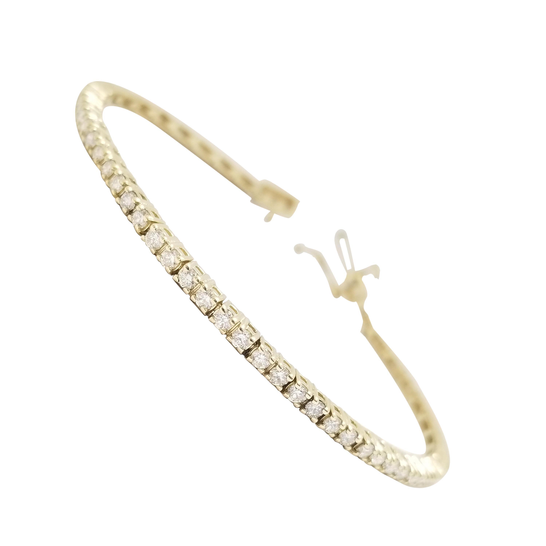 2.34 Carat Round Brilliant Cut Diamond Tennis Bracelet 14 Karat Yellow Gold